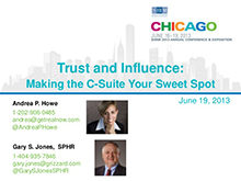 Trust and Influence: Making the C-suite your sweet spot – SHRM June 2013