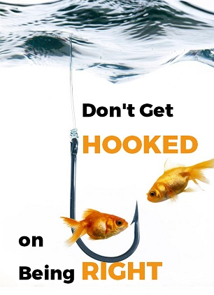 Gold fishes around a big hook