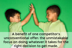 A benefit of one competitors unconventional offer